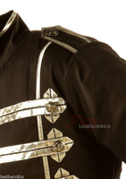 Men's Military Short Black Cotton Jacket Top zoom view