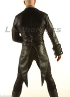 Leather Tailcoat Gothic Steampunk Morning Dress Suit Coat STPGL back view