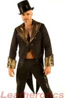 Men's Cotton Tailcoat Golden Steampunk Vintage Morning Suit Coat STPGG  front