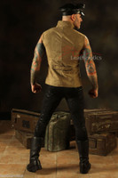New Men's Steampunk Military Waistcoat Vest Top Mandarin Vintage Guard  back view