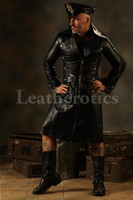 Leather Steampunk Military Coat Men's Jacket Gothic Antique top
