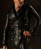 Leather Steampunk Military Coat Men's Jacket Gothic Antique top zoom view