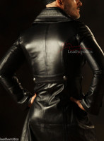 Leather Steampunk Military Coat Men's Jacket Gothic Antique top back view