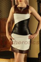 Fitted Ladies Leather Dress Custom Made to Measure front detailed