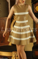Ladies Leather Dress Top Costume Striped Nappa Stylish  md105