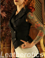 Ladies Tailcoat Gothic Vintage Costume Victorian Flock side view