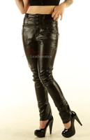 Leather High waisted skinny Jeans with protective double stitching  pic 1