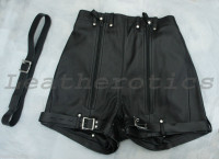 Mens Natural Leather Binder Chastity Shorts Knickers Bondage img2