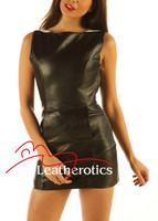 Two Tone Leather Mini Dress Sleeveless Light Top MD80 front close up