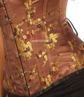 Brown Brocade Cherry Blossom Silk Corset Overbust