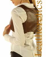Antique Brown Real Leather Waistcoat Vest Sleeveless Steampunk Bolero
