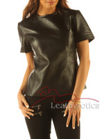 Full Grain Leather T-Shirt Light Top Celebrity T-shirt Vest With Zip Back front