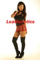 dark red leather hotpants