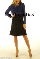 Black Suede Leather Skirt A Line Stitched Seam Panels
