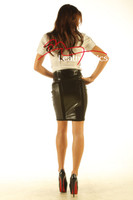 Knee Length Leather Skirt Pencil Style Tight Fit Sexy Black Unique Suede  back