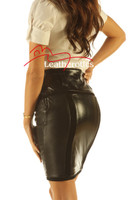 Knee Length Leather Skirt Pencil Style Tight Fit Sexy Black Unique Suede back view