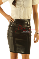 Knee Length Leather Skirt Pencil Style Tight Fit Sexy Black Unique Suede front view