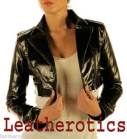Ladies Leather High Waisted Short Jacket M85 image 2