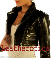 Ladies Leather High Waisted Short Jacket M85