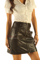 Aniline leather skirt