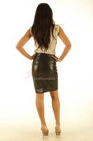 Leather Pencil Skirt Black Unique Design Veg tan