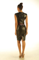 Lavish Soft Black Leather midi Dress Zip Front Top Calf Length back