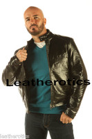 Full Grain Leather Jacket Classic Waist Length Cowhide Black VP