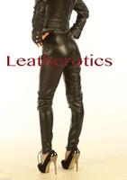black leather zipper-free leggings