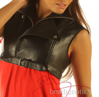 Full Grain Leather High Waisted Short Top Waist Coat Top Trendy  side view