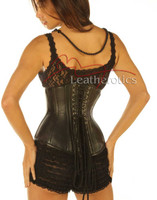 Black Leather Under Bust Victorian Corset Cupless Steel Boned Top