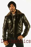 Mens Glaze Leather Bomber Flight Jacket Gents Top Aviator Fur Collar