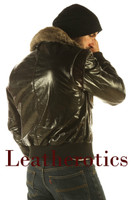 Mens Glaze Leather Bomber Flight Jacket Gents Top Aviator Fur Collar