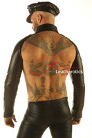 Men's Leather Collar With Sleeves Top Muscle Jacket back view