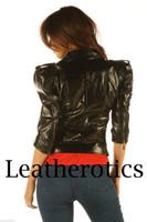 Ladies Leather Jacket Waist Length Top  Detailed Zipper JC57 image 4