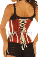 Leather Corset 1836 Red White - back details