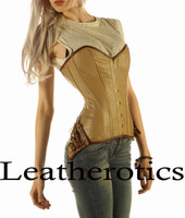Full Grain Leather Corset Steel Boned Steampunk Clothing Top Tan