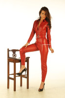 Red leather ultra-form-fitting catsuit front 2
