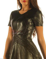 Lavish Black Leather Dress  MD 83 front details