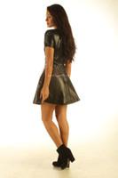 Lavish Black Leather Dress  MD 83 back look