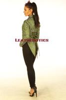 Ladies Tail Coat Victorian Flock Steampunk Jacket Green STP2  side