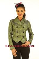 Ladies Tail Coat Victorian Flock Steampunk Jacket Green STP2  front