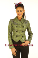 Ladies Tail Coat Victorian Flock Steampunk Jacket Green STP2  front
