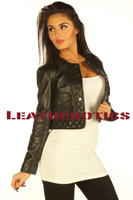 Ladies Leather Jacket Short Length High Waist PPJC