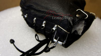 Black leather hood perforated gimp mask with laces  pic 2