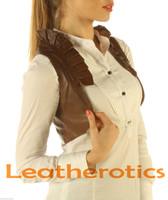 Ruffled Antique Brown Real Leather Waistcoat Vest Steampunk Bolero side look