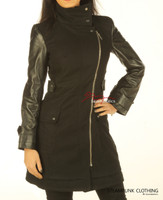 Leather Wool Coat With Full Grain Leather Arm Sleeves Tight Fit in black colour