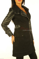 Leather Wool Coat With Full Grain Leather Arm Sleeves Tight Fit in black colour close up