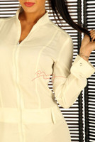 White nude linen cotton Jumpsuit pic 2