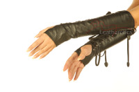 Leather fingerless Lace Arm Gloves 3