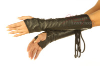 Leather fingerless Lace Arm Gloves 1